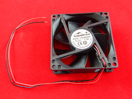 Вентилятор для корпуса Snowfan YY8025H24B, 8cm, Черный