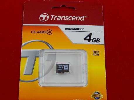 Карта памяти Micro SDHC 4Gb Transcend, Class 4