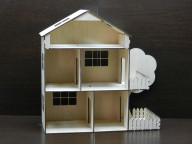Кукольный домик двухэтажный с мансардой, верандой и терассой (в разборе)