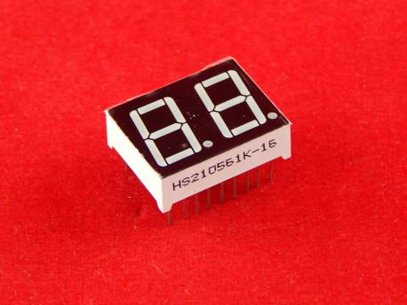 """Двухразрядный цифровой индикатор (общий катод, красный, 0.56"""")"""