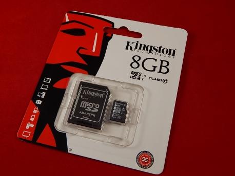 Карта памяти Micro SDHC 8Gb Kingston, Class 10, адаптер