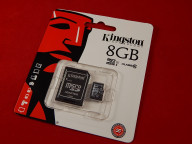 Карта памяти Micro SDHC 8Gb Kingston, Class 10, адаптер