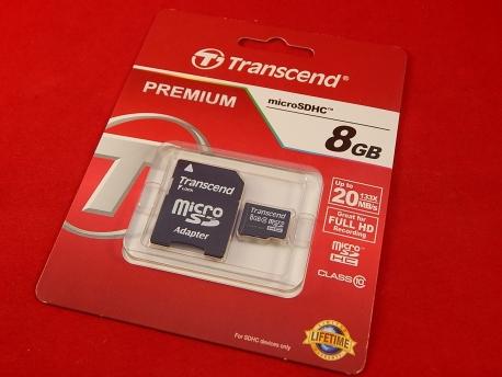 Карта памяти Micro SDHC 8Gb Transcend Class 10, адаптер