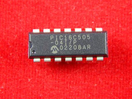 Микроконтроллер PIC16C505-04I/P, 8-Бит, PIC, 4МГц, 1.5КБ, DIP-14