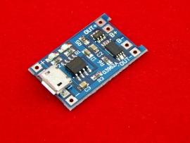 Модуль зарядки литий-ионных аккумуляторов EM4056A на TP4056 до 1A (micro USB)