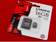 Карта памяти Micro SDHC 16Gb Kingston, Class 10, адаптер