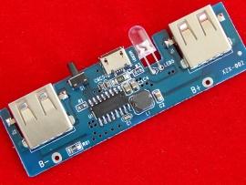 Модуль зарядки li-ion аккумуляторов для PowerBank 5V 1А 2 входа