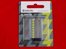 Батарейка Defender 6LR61-1B, 9V, Крона