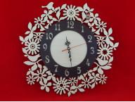 Часы круглые с цветами и птицами